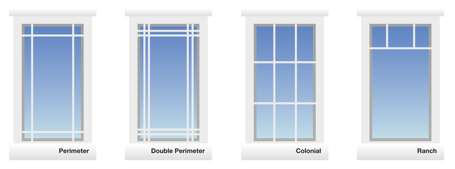 Window Grille Options - Perimeter - Double Perimeter - Colonial - Ranch